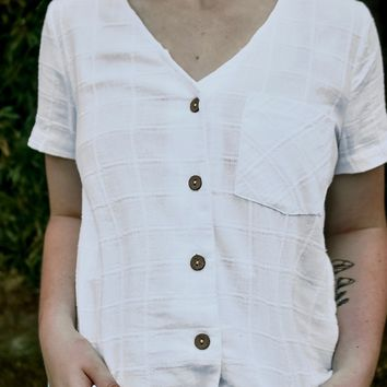 V-Neck Tailored Button Down