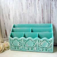 Aqua Vintage Mail Organizer, Distressed Letter Holder, Beach Cottage Office Organizer, Shabby Chic, Bill Holder, Teal  Home Decor