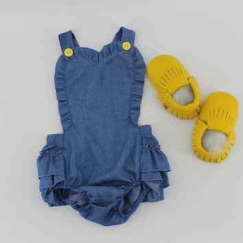 Little Love Girls Demin Chambray, Yellow Button Ruffle Romper