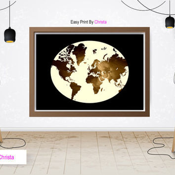 World map printable, World map prints, Travel art, Travel poster, World map art, Modern wall decor, Continents, Black gold, Instant download