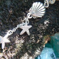 double starfish shell belly ring starfish clamshell springbreak summer in boho gypsy hippie belly dancer beach hipster and fantasy style
