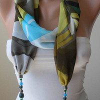 Scarf Necklace - Jewelry Scarf - Green and Blue Multicolor - with Beads and Chain - Trendy - Fashion