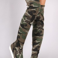 Camouflage Round Toe Over-The-Knee Sneaker Boots