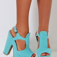 Skylar Aqua Blue Soft Suede Effect Platform Shoes | Pink Boutique