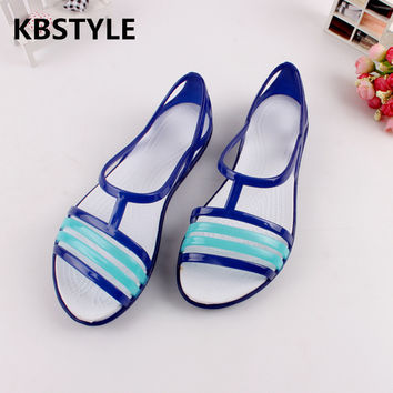 Women Sandals 2017 Summer New EVA Candy Color Peep Toe Stappy Beach Valentine Rainbow Croc Jelly Shoes Woman Wedges Sandalias