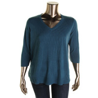 Karen Scott Womens Plus Knit V-Neck Pullover Sweater