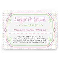 Sugar and Spice Twins Baby Shower Invitation