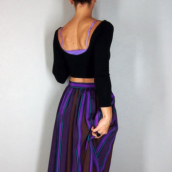 Vintage Striped Midi Skirt with Pockets, Full High Waisted Skirt, Purple Teal Brown Small Extra Small