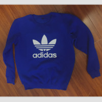 "Fashion ""Adidas"" Print Sweater Pullover Tops Sweater Sweatshirts Blue"