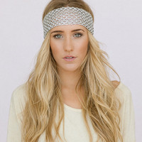 SIlver Bohemian Headband Stretchy Music Festival Boho Wide Head Piece Hair Bands Wide (HB-138A)