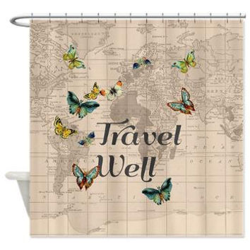 Travel Well Quote Shower curtain with vintage map - beige - chic, Travel theme Home Decor - Bathroom - maps