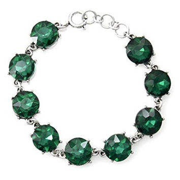 Womens Jewelry, Green Crystals, Silver Tone Chain Hook Bracelet.