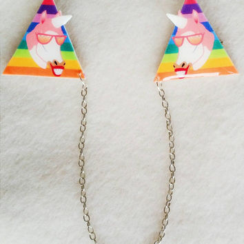 Unicorn rainbow collar clips // sweater clips // shrink plastic jewelry // quirky  jewelry //jewellery // gift for her
