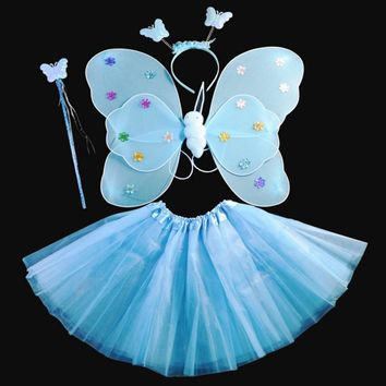 Dance Costumes Cosplay Fairy Princess Kids Butterfly Wings Wand Headband Tutu Skirt New