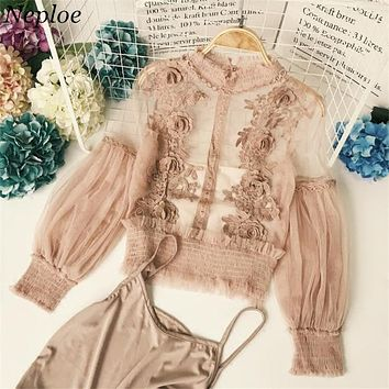 Neploe 3D Flower Lace Women Blouse New Fashion Half Turtleneck See-through Puff Sleeve Blusas Two-piece Mesh Female Shirts 66794