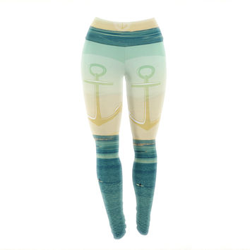 "Robin Dickinson ""Row Your Own Boat"" Teal Ocean Yoga Leggings"