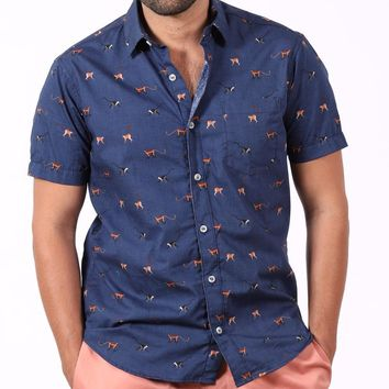 ON SALE THIS WEEK ONLY:  Royal Blue Monkey Print Short Sleeve Shirt - Manny Size L Available