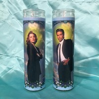 X Files Mulder and Scully Prayer Candle