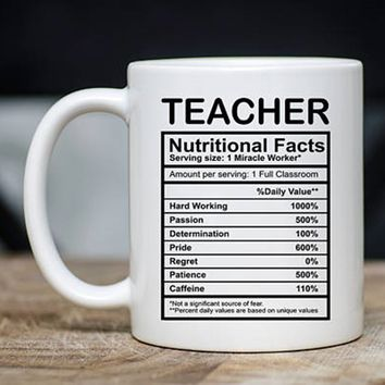 Teacher Nutritional Facts Mug - Funny Teacher Coffee Mug - Teacher Mugs - Teacher Gifts - 11oz Novelty Teacher Christmas Gift