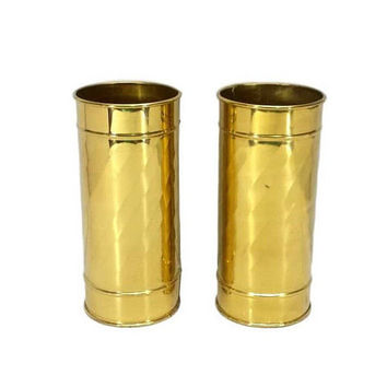Brass Cylinder Vases Pair Gold Wedding Table Centerpiece Decor Tall Flower Container Metal Swirl Arrangement Holder Set Vintage