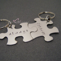Always Forever Keychain, Couple Keychain, Puzzle piece keychains, Couples Gift, Wedding Gift, Hand Stamped, Husband Wife Gift