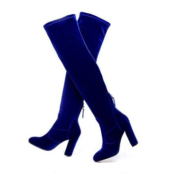 Velvet Over the Knee Chunky Heeled Boots 4 Colors