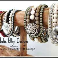 Featured at the 2013 GBK Oscars Celebrity Gift Lounge - Gemstone Beaded Leather Cuff Bracelet Display -   - Neutral Perfection