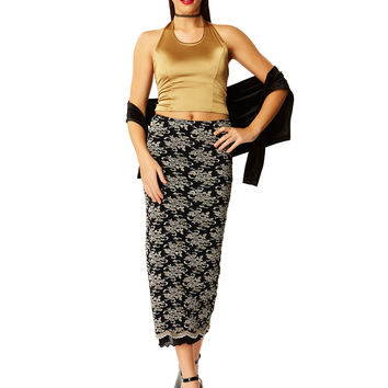 Barely Regal Lace Midi Skirt - Gold