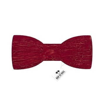 Wooden Ink Cracks Red Bow Tie