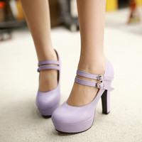 Size 34-43 Spring Autumn Ladies Shoes Buckle Round Toe Square High Heel PU leather Mary Janes Fashion Women Pumps Colour Purple