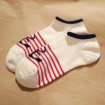 New fashion japanese navy retro style anchor pattern breathable cotton man's socks