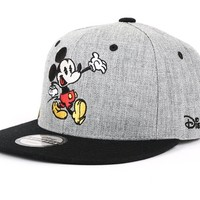 Disney Authentic Mickey Mouse Cute Snapback Hat (4. Gray)
