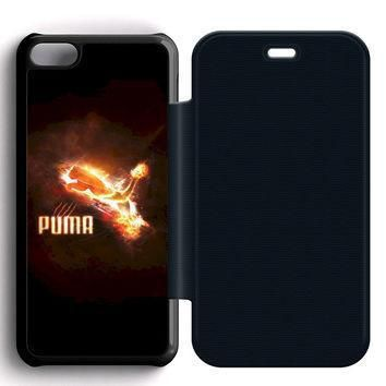 puma red logo leather wallet flip case iphone 5c  number 2