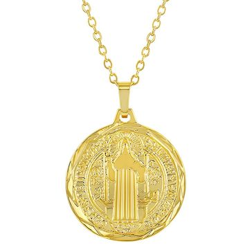 """18k Gold Plated Reversible St Benedict Religious Medal Pendant Necklace 19"""""""