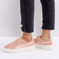 Puma Suede Platform Trainer In Pink at asos.com