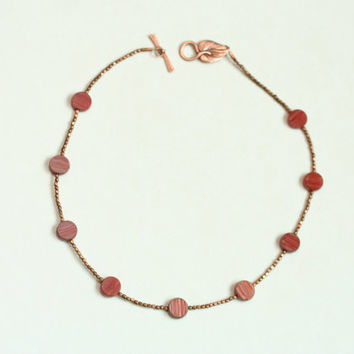 feminine delicate necklace red necklace copper necklace / picasso bead necklace / warm colors / picasso glass jewelry / made in usa