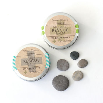 Ultimate Rescue Kit / Muscle Rescue and Skin Rescue gift set / massage balm skin repair lotion / sample size all natural/ fitness