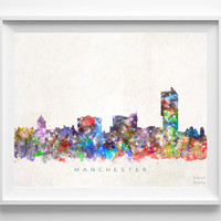 Manchester Skyline Print, England Print, Manchester Poster, Cityscape, Watercolor Painting, City Skyline, Wall Decor, Christmas Gift