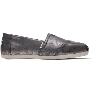 TOMS - Women's Classics Ortholite Forged Iron Shimmer Synthetic Slip-Ons