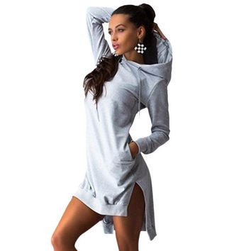 Hoodie Sweater Dress With Pockets