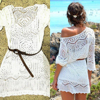 Lace Crochet Bikini Swimwear Cover Up