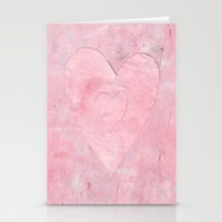 pink paint heart valentine Stationery Cards by Beth Gilmore