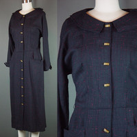 50s Dress Vintage 1950s Button Front Black Red Fleck Platter Collar Day Dinner Career M 10