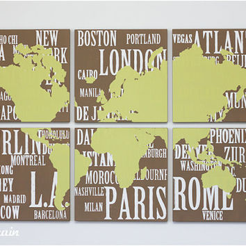 Original Painting World Map and Major Cities Screen  by RightGrain