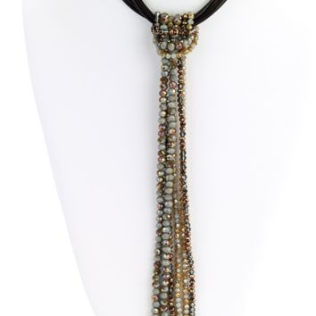 Beaded Tassel Leather Necklace