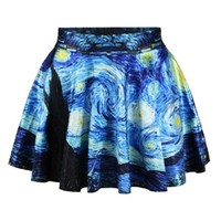 Ninimour- Sexy Retro Vintage Digital Print Skater Skirt (Starry Night)