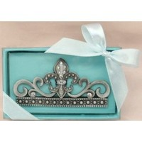 Pewter and Czech Rhinestone Fleur de Lis Desktop Business Card Holder