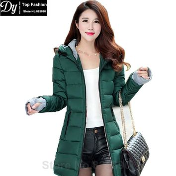 New Women's Winter Jacket Women Cotton Parkas Jackets Winter Hooded Jacket Fashion Girls Padded Slim Long Coat Jackets Plus Size