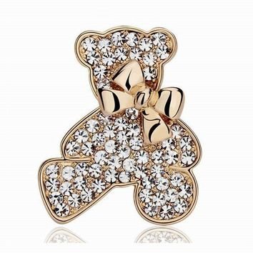 Cute White Rhinestone Crystal Gold Silver Color Zinc Metal Bow Bears Brooch Pins For Woman Girls Animal Brooches Christmas Gift