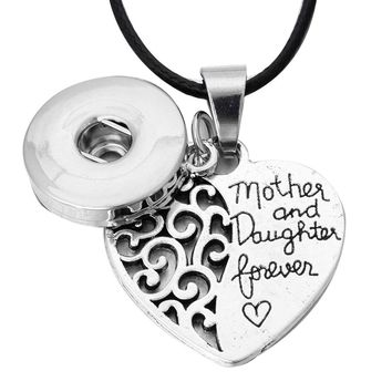 New Snap Jewelry Mother Daughter Forever Love Heart Pendant Snap Necklace 12mm 18mm Snap Button Pendant Necklace With Chains